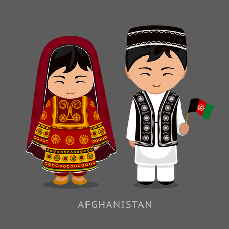 Afghans in national dress with a flag. Man and woman in traditional costume. Travel to Afghanistan. People. Vector flat illustration.