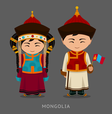 Mongols in national dress with a flag. Man and woman in traditional costume. Travel to Mongolia. People. Vector flat illustration.