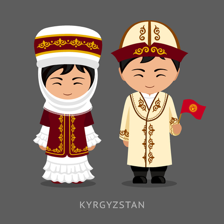 Kyrgyz in national dress with a flag. Man and woman in traditional costume. Travel to Kyrgyzstan. People. Vector flat illustration. Vettoriali