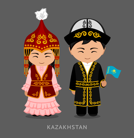 Kazakhs in national dress with a flag. Man and woman in traditional costume. Travel to Kazakhstan. People. Vector flat illustration. 일러스트