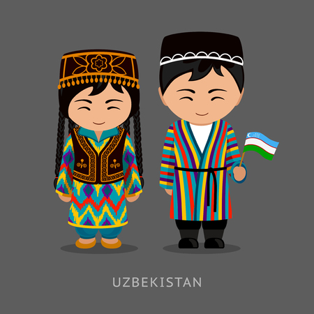 Uzbeks in national dress with a flag. Man and woman in traditional costume. Travel to Uzbekistan. People. Vector flat illustration.