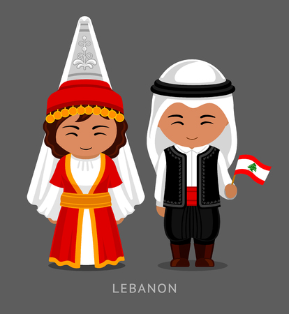 Lebanese in national dress with a flag. Man and woman in traditional costume. Travel to Lebanon. People. Vector flat illustration. Çizim