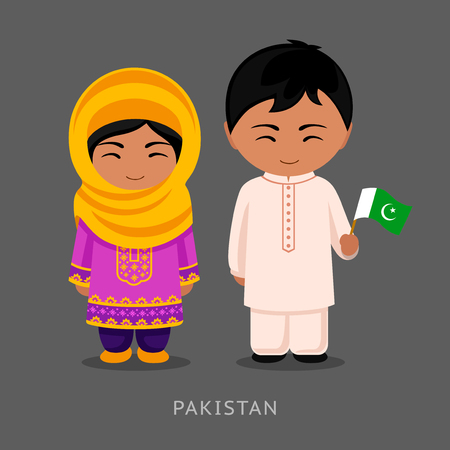 Pakistanis in national dress with a flag. Man and woman in traditional costume. Travel to Pakistan. People. Vector flat illustration.