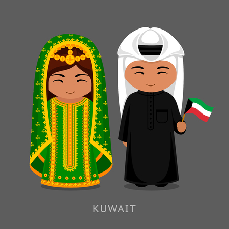 Kuwaitis in national dress with a flag. Man and woman in traditional costume. Travel to Kuwait. People. Vector flat illustration.