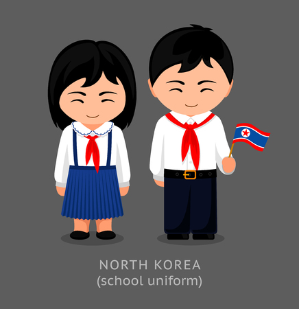 North Koreans in national school uniform with a flag. Girl and boy in traditional clothes. Travel to North Korea. People. Vector flat illustration.