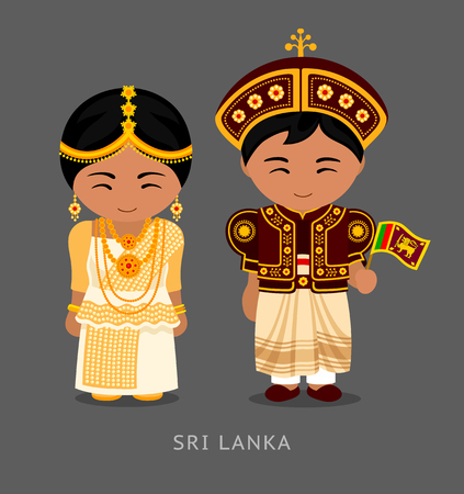 Sri Lankans in national dress with a flag. Man and woman in traditional wedding costume. Travel to Sri Lanka. People. Vector flat illustration.