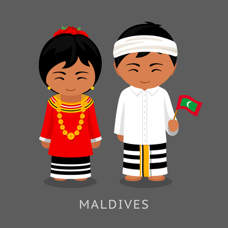 Maldives in national dress with a flag. Man and woman in traditional costume. Travel to Republic of Maldives. People. Vector flat illustration.  イラスト・ベクター素材
