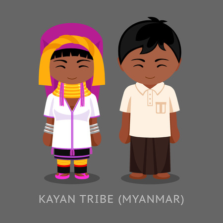 Kayan tribe in traditional costume. Man and woman, boy and girl. Cute cartoon characters. Travel to Myanmar (Burma). Vector flat illustration.
