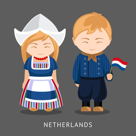 Dutches in national dress with a flag. A man and a woman in traditional costume. Travel to Netherlands. People. Vector illustration. Vettoriali