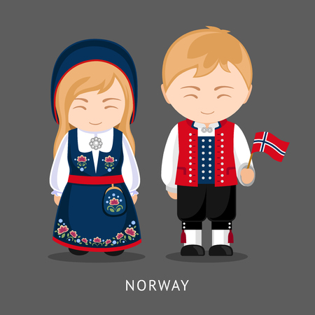 Norwegians in national dress with a flag. Man and woman in traditional costume. Travel to Norway People. Vector flat illustration.