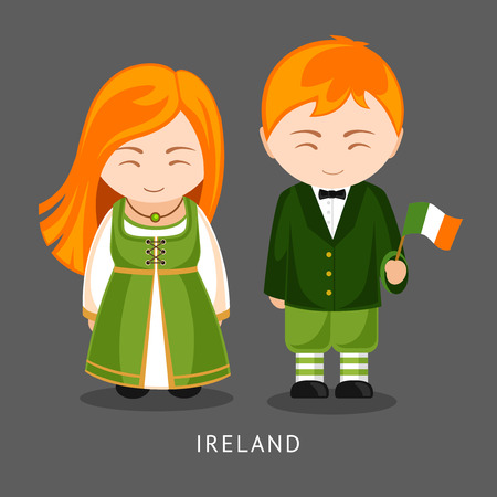 Irish in national dress with a flag. Man and woman in traditional costume. Travel to Ireland. People. Vector flat illustration. Illustration