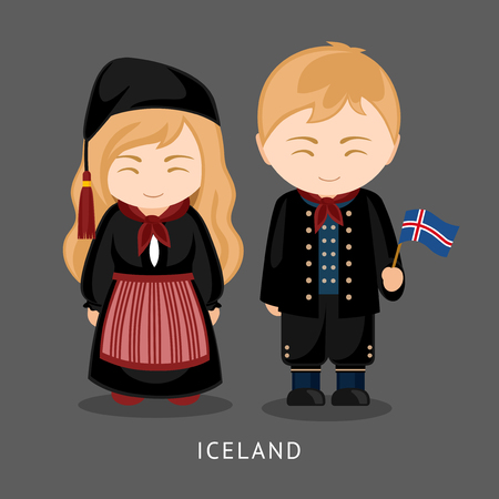 Icelanders in national dress with a flag. Man and woman in traditional costume. Travel to Iceland. People. Vector flat illustration.