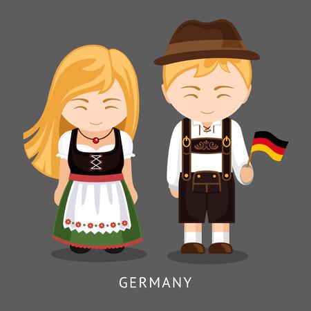 Tedeschi in abito nazionale con una bandiera. Uomo e donna in costume tradizionale. Viaggia in Germania. Persone. Vector piatta illustrazione.