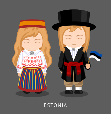 Estonians in national dress with a flag. Man and woman in traditional costume. Travel to Estonia. People. Vector flat illustration.
