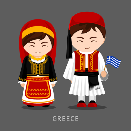 Greeks in national dress with a flag. Man and woman in traditional costume. Travel to Greece. People. Vector flat illustration. Illustration