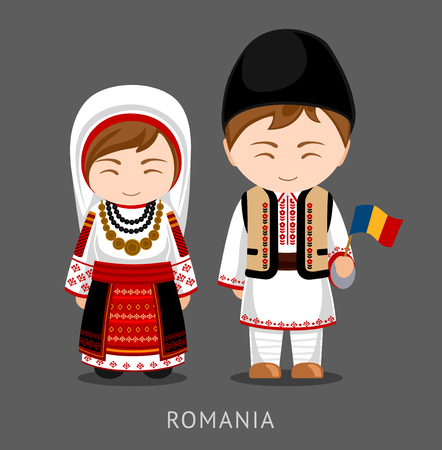 Romanians in national dress with a flag. Man and woman in traditional costume. Travel to Romania. People. Vector flat illustration.