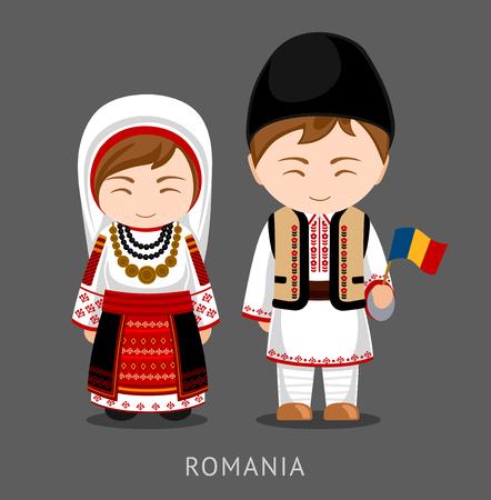 Roemenen in nationale klederdracht met een vlag. Man en vrouw in klederdracht. Reizen naar Roemenië. Mensen. Platte vectorillustratie.