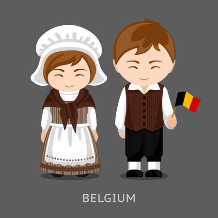 Belgen in nationale klederdracht met een vlag. Man en vrouw in klederdracht. Reis naar België. Mensen. Platte vectorillustratie. Vector Illustratie