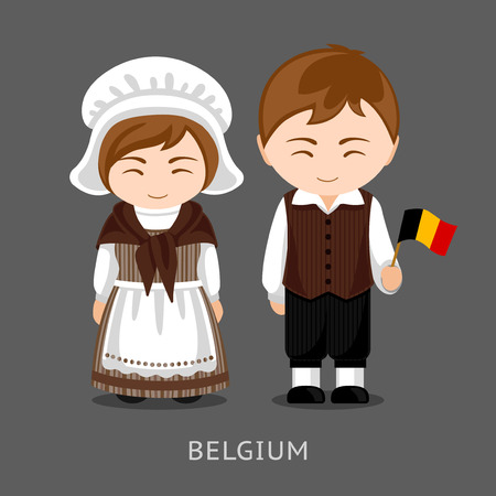 Belgians in national dress with a flag. Man and woman in traditional costume. Travel to Belgium. People. Vector flat illustration. Vettoriali