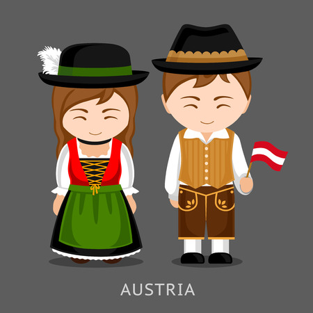 Austrians in national dress with a flag. Man and woman in traditional costume. Travel to Austria. People. Vector flat illustration. Banque d'images - 96984389