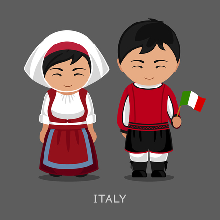 Italians in national dress with a flag. Man and woman in traditional costume. Travel to Italy. People. Vector flat illustration.