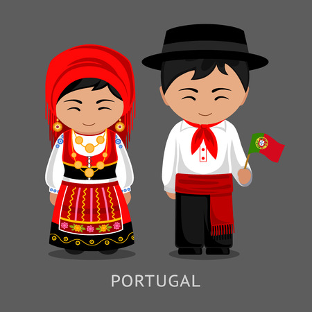 Portugueses in national dress with a flag. Man and woman in traditional costume. Travel to Portugal. People. Vector flat illustration.