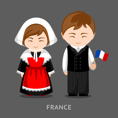French in national dress with a flag. Man and woman in traditional costume. Travel to France. People. Vector flat illustration.