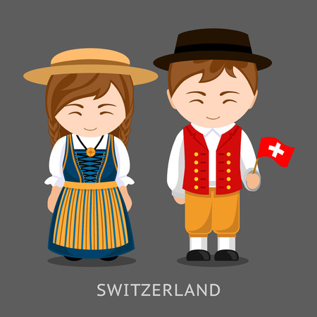 Swiss in national dress with a flag. Man and woman in traditional costume. Travel to Switzerland. People. Vector flat illustration.