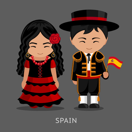 Spaniards in national dress with a flag. Man and woman in traditional costume. Travel to Spain. People vector flat illustration.