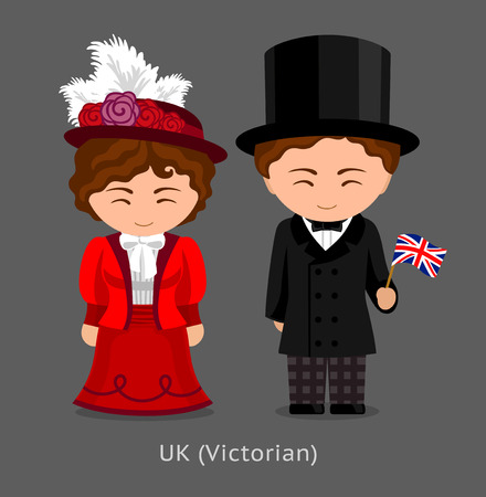 British in national dress with a flag. Victorian fashion. Lady and gentleman in traditional costume. Travel to United Kingdom. Cartoon people. Vector flat illustration.