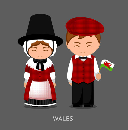 Welsh in national dress with a flag. Man and woman in traditional costume. Travel to Wales. People vector flat illustration.  イラスト・ベクター素材