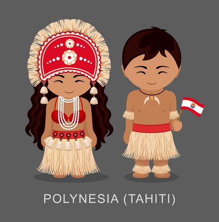 Polynesians in national dress with a flag.