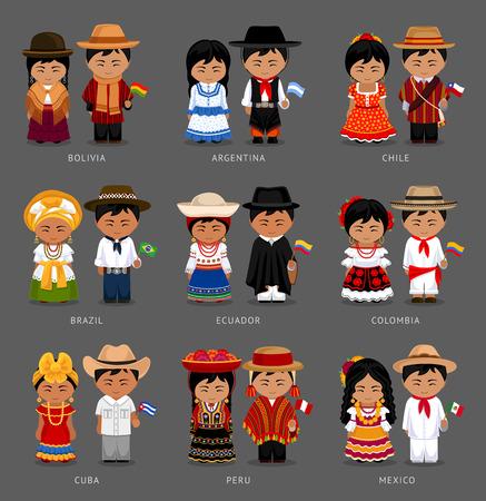 People in national dress illustration set.