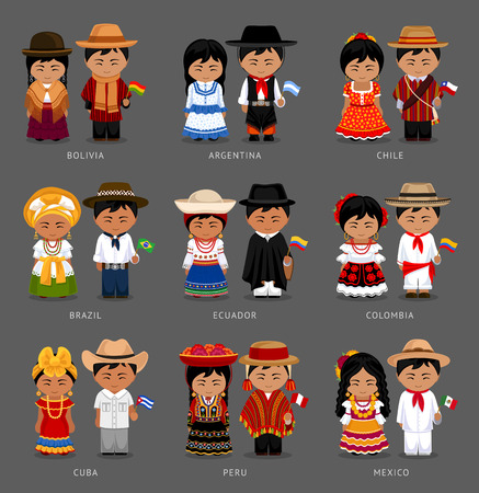 People in national dress illustration set.