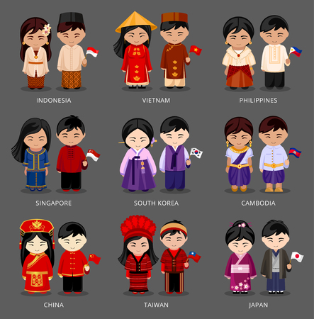 Set of Asian pairs dressed in different national costumes.
