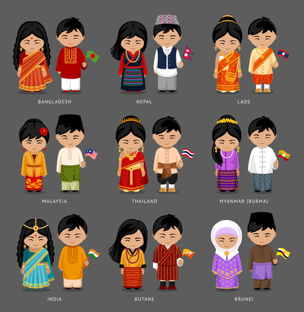 People in national dress. Burma (Myanmar), Brunei, Bhutan, Bangladesh, India, Nepal, Thailand, Malaysia, Laos. Set of asian pairs dressed in traditional costume. National clothes. Vector illustration.