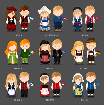 Set of European pairs dressed in different national costumes.
