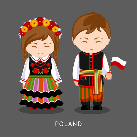 Poles in national dress with a flag.