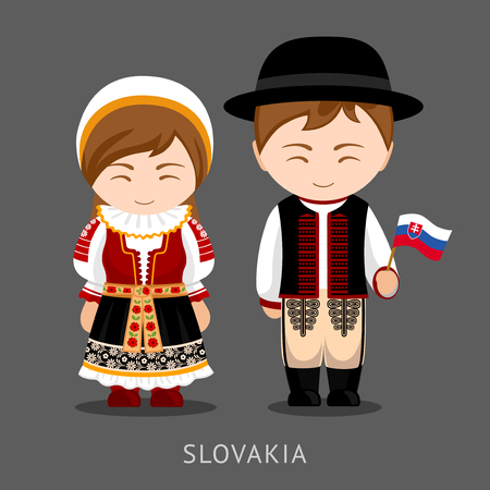 Slovaks in national dress with a flag.