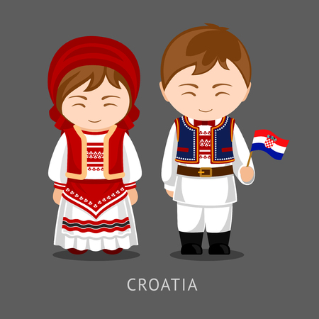 Croats in national dress with a flag.