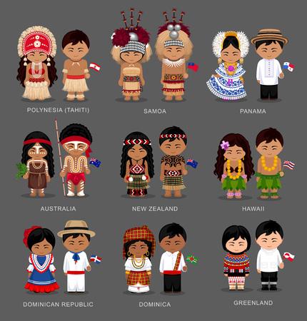 La gente nell'insieme nazionale dell'illustrazione del vestito. Vettoriali
