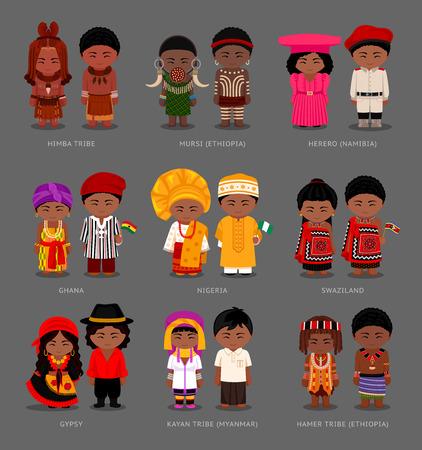People in national dresses vector illustration set