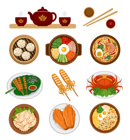 Zestaw azjatyckich potraw. Kuchnia chińska i koreańska. Płaskie ilustracji wektorowych. Ilustracje wektorowe