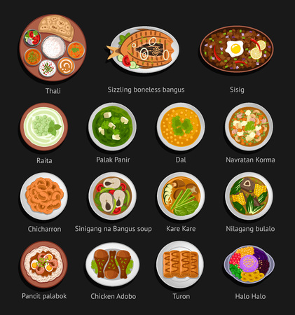 Asian food. Philippine and Indian cuisine. Big set of national dishes. Vector flat illustration.