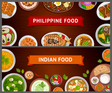 Philippine and Indian cuisine. Asian food. National dishes on a wooden background. Horizontal web banners. Vector flat illustration.