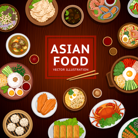Asian food. Traditional national dishes on a wooden background. Vector illustration. Banner, menu. Flat design. Asian cuisine.  Çizim