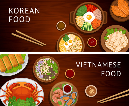 Set of horizontal web banners. Vietnamese, Korean cuisine. Asian food. Traditional national dishes on a wooden background. Collection of vector illustration. Flat design. Ilustração