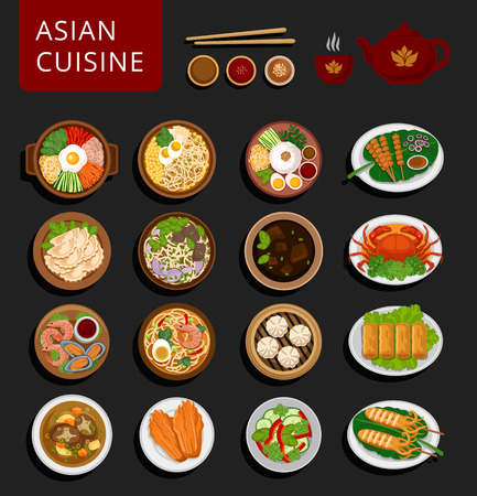 Big set of asian food. Vietnamese, Korean, Indonesian, Chinese and Japanese cuisine. Various food dishes. Vector flat illustration. Can be used for layout, advertising and web design.