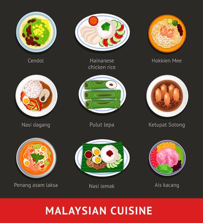 Gran conjunto de comida de Malasia. Cocina tradicional asiática. Varios platos nacionales. Vista desde arriba. Vector ilustración plana