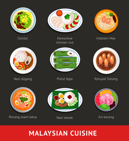 Big set of malaysian food. Asian traditional cuisine. Various national dishes. View from above. Vector flat illustration.